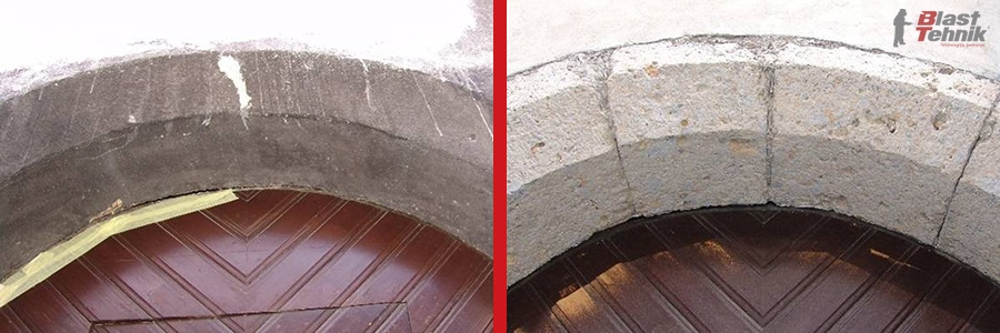 Kamniti obok pred in po čiščenju.