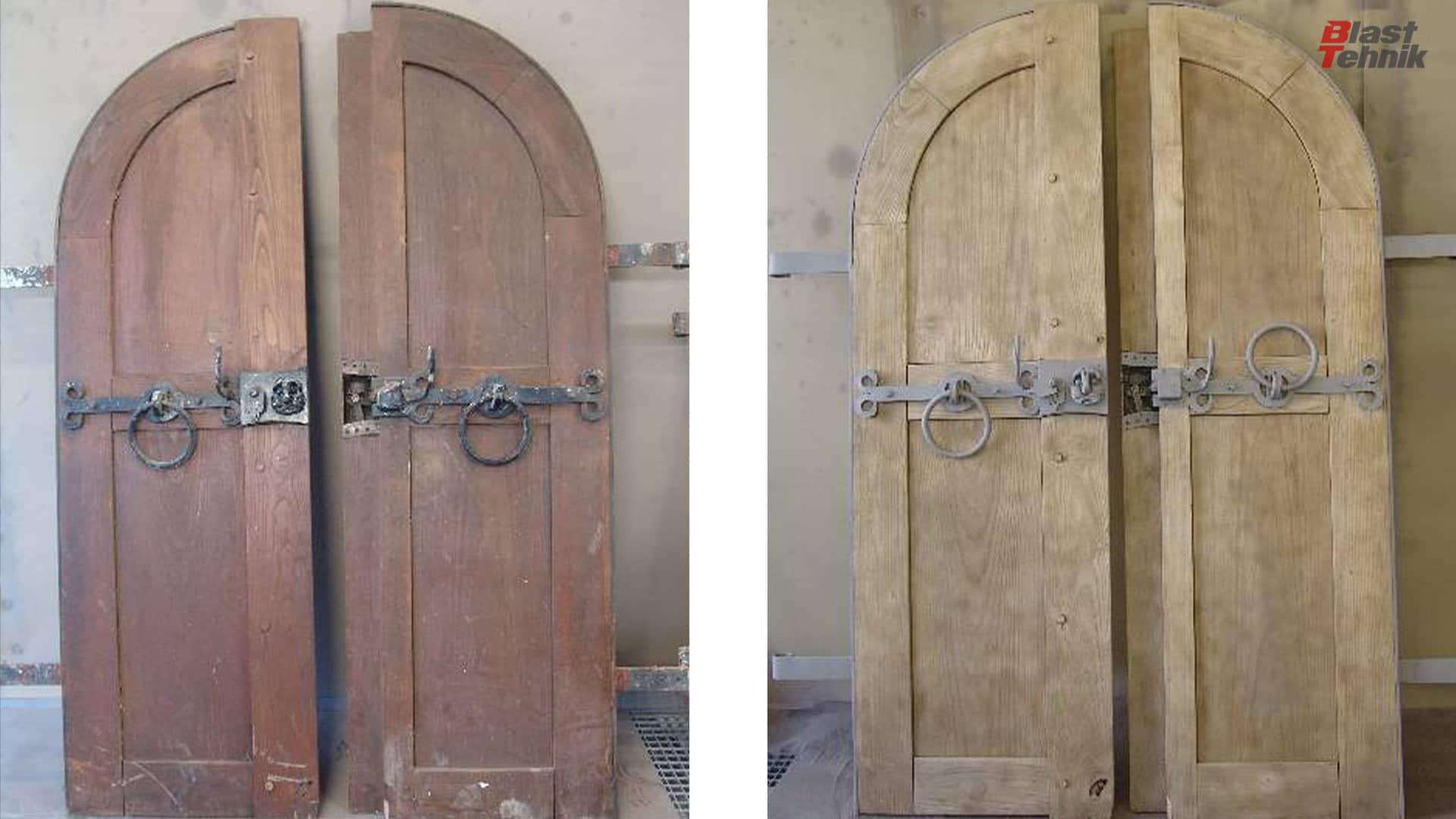 Čiščenje masvnih, lesenih vrat.