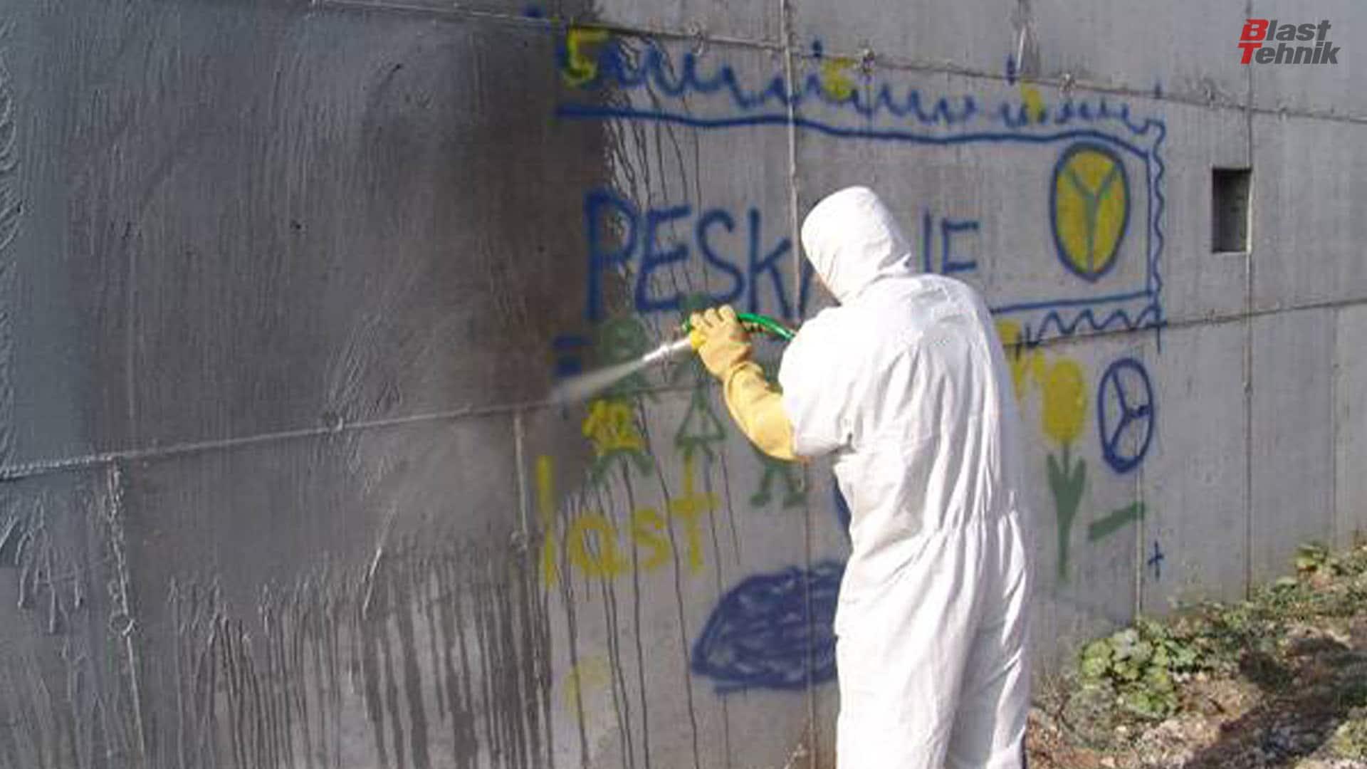 Odstranjevanje grafita. Peskanje betona.
